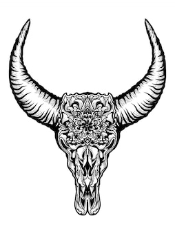 Crânio de touro com ornamento floral