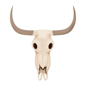 Crânio de touro de vaca em estilo cartoon, isolado no fundo branco ilustração vetorial de estoque oeste selvagem c