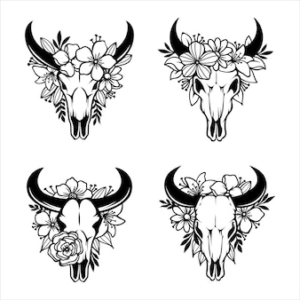 Crânio de uma vaca com chifres decorados com flores