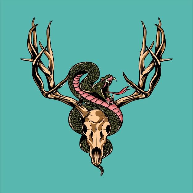 Crânio de veado e ilustração de cobra