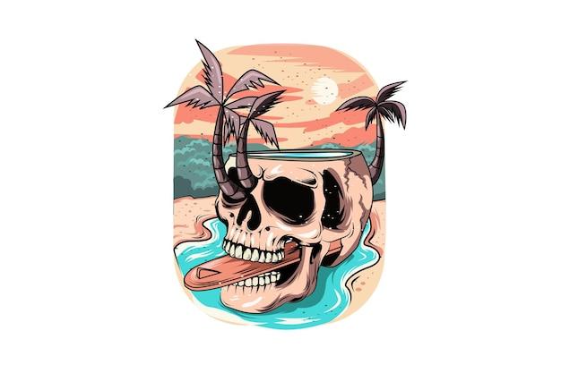 Crânio de verão com fundo do sol no rio