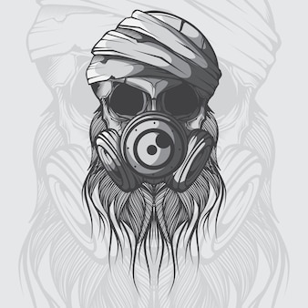 Crânio de vetor com máscara de gás