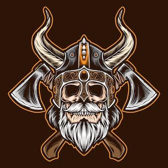 Crânio de viking barbudo com machado