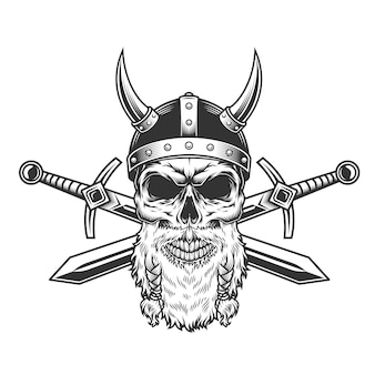 Crânio de viking barbudo vintage