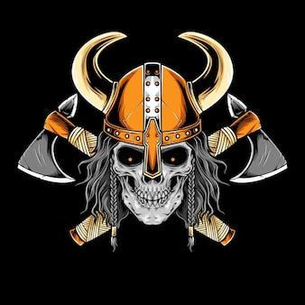 Crânio de viking com arte vetorial de armadura