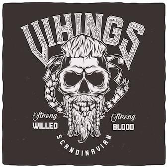 Crânio de viking com barba