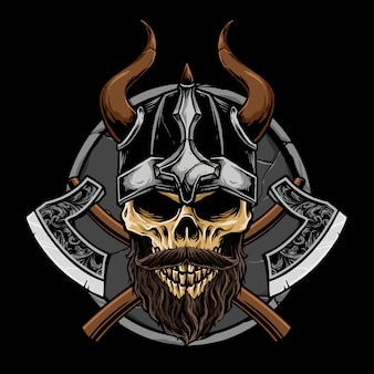Crânio de viking com ilustração de arma