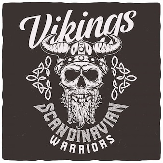 Crânio de viking em um capacete.