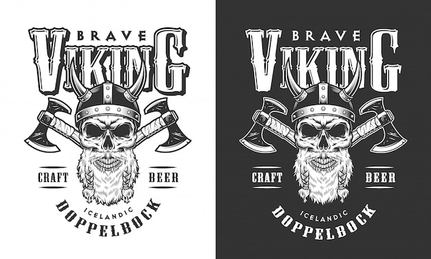 Crânio de viking no emblema do capacete com chifres
