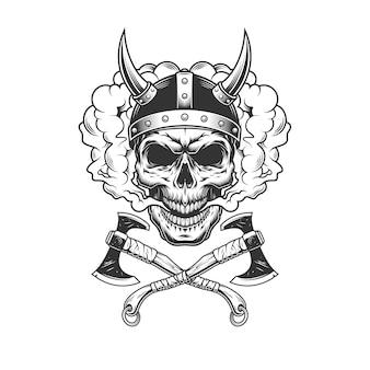Crânio de viking usando capacete com chifres