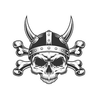 Crânio de viking vintage no capacete com chifres