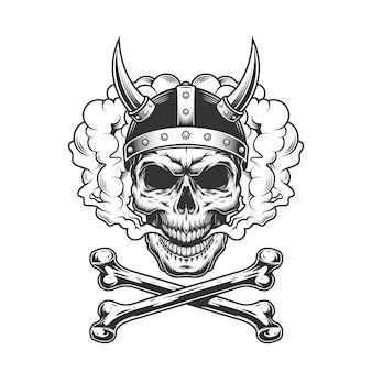 Crânio de viking vintage usando capacete com chifres