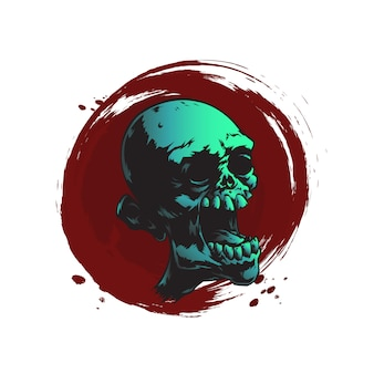 Crânio de zumbi assustador