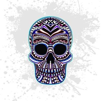 Crânio decorado com formas abstratas
