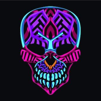 Crânio decorativo da cor neon
