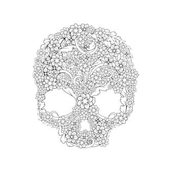 Crânio decorativo floral