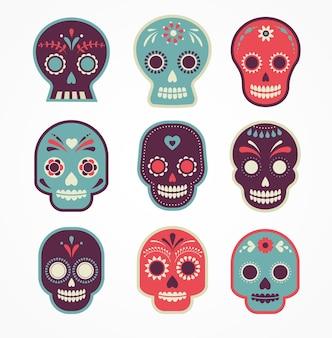 Crânio definido como o dia mexicano dos mortos