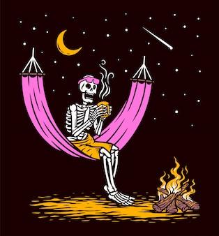 Crânio deitado bebendo ilustração de café