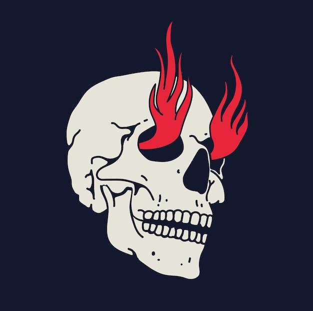 Crânio desenhado à mão branca com chamas de fogo de olhos isolados em fundo preto