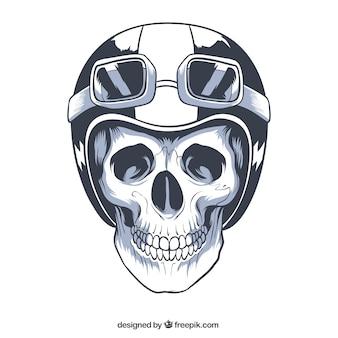 Crânio desenhado à mão com capacete e óculos