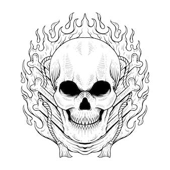 Crânio desenhado à mão, estilo de gravura de arte de linha vintage