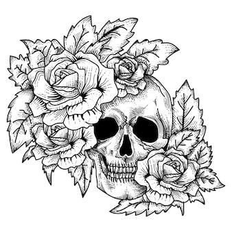 Crânio desenhado de mão com rosas