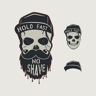 Crânio desenhado de mão vintage com boné, barba, bigode e palavras