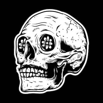 Crânio desenhado de mão