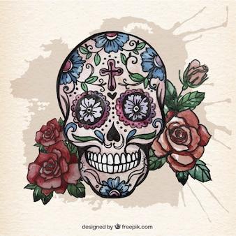 Crânio do açúcar da aguarela com rosas