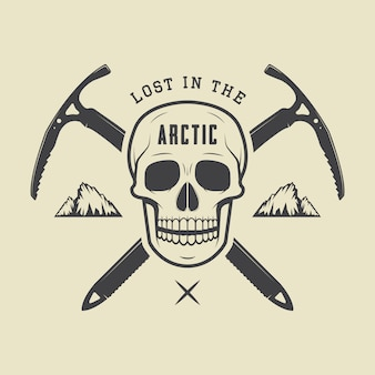 Crânio do ártico vintage com picaretas de gelo