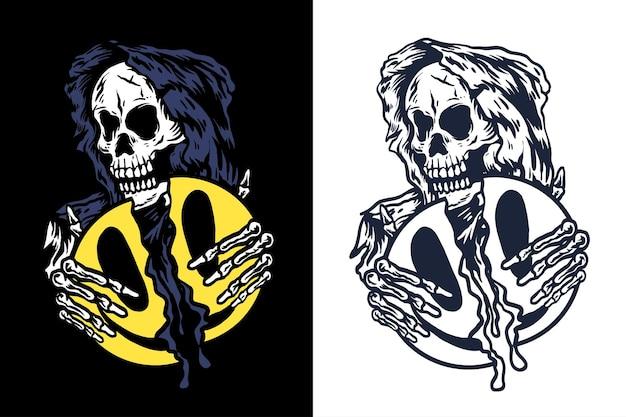 Crânio do ceifador com ícone de sorriso na mão