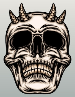 Crânio do demônio com chifre.