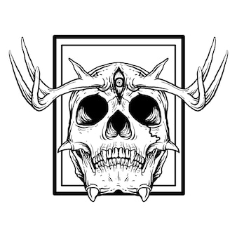 Crânio do diabo com ilustração desenhada à mão em preto e branco com chifre de veado e 3 olhos