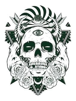 Crânio do diabo para design de camisa no conceito branco preto