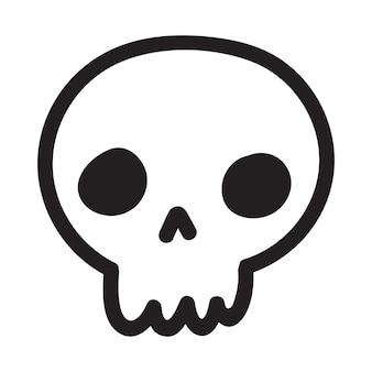 Crânio do doodle desenhado dos desenhos animados de mão. crânio de desenho animado isolado no fundo branco. ilustração vetorial.
