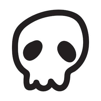 Crânio do doodle desenhado dos desenhos animados de mão. crânio de desenho animado isolado no fundo branco.