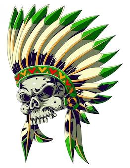 Crânio do índio americano com chapéu de penas