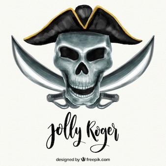 Crânio do pirata da aguarela e fundo das espadas
