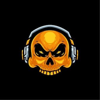 Crânio dourado com logotipo do mascote do headset para jogos