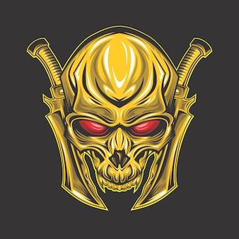 Crânio dourado de olhos vermelhos