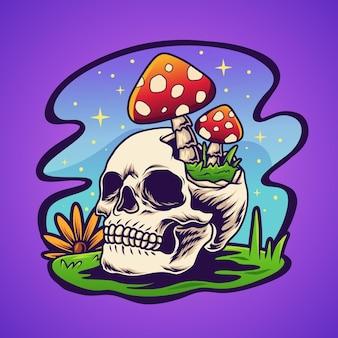 Crânio e cogumelo trippy