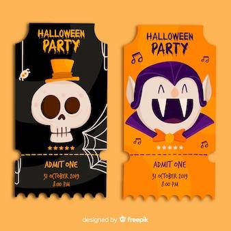 Crânio e drácula halloween bilhetes em design plano