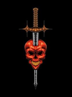 Crânio e espada do demônio do mal