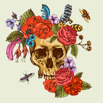 Crânio e flores dia dos mortos