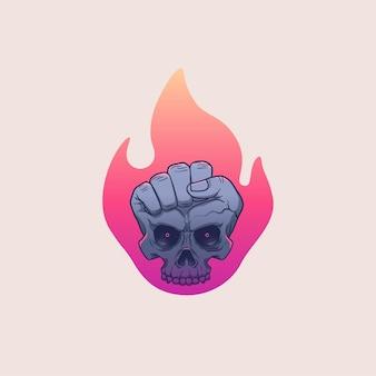 Crânio e mão com ilustração de arte de fogo