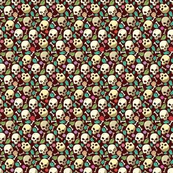 Crânio e osso vintage padrão sem costura fundo de halloween