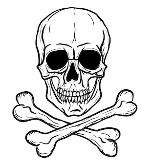 Crânio e ossos cruzados isolados