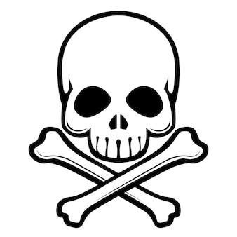 Crânio e ossos cruzados pequenos