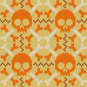 Crânio e ossos malha padrão de lã sem costura em tons de bege