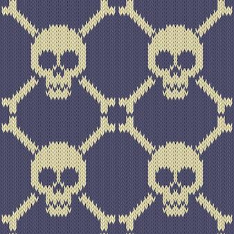 Crânio e ossos padrão de lã sem costura de malha